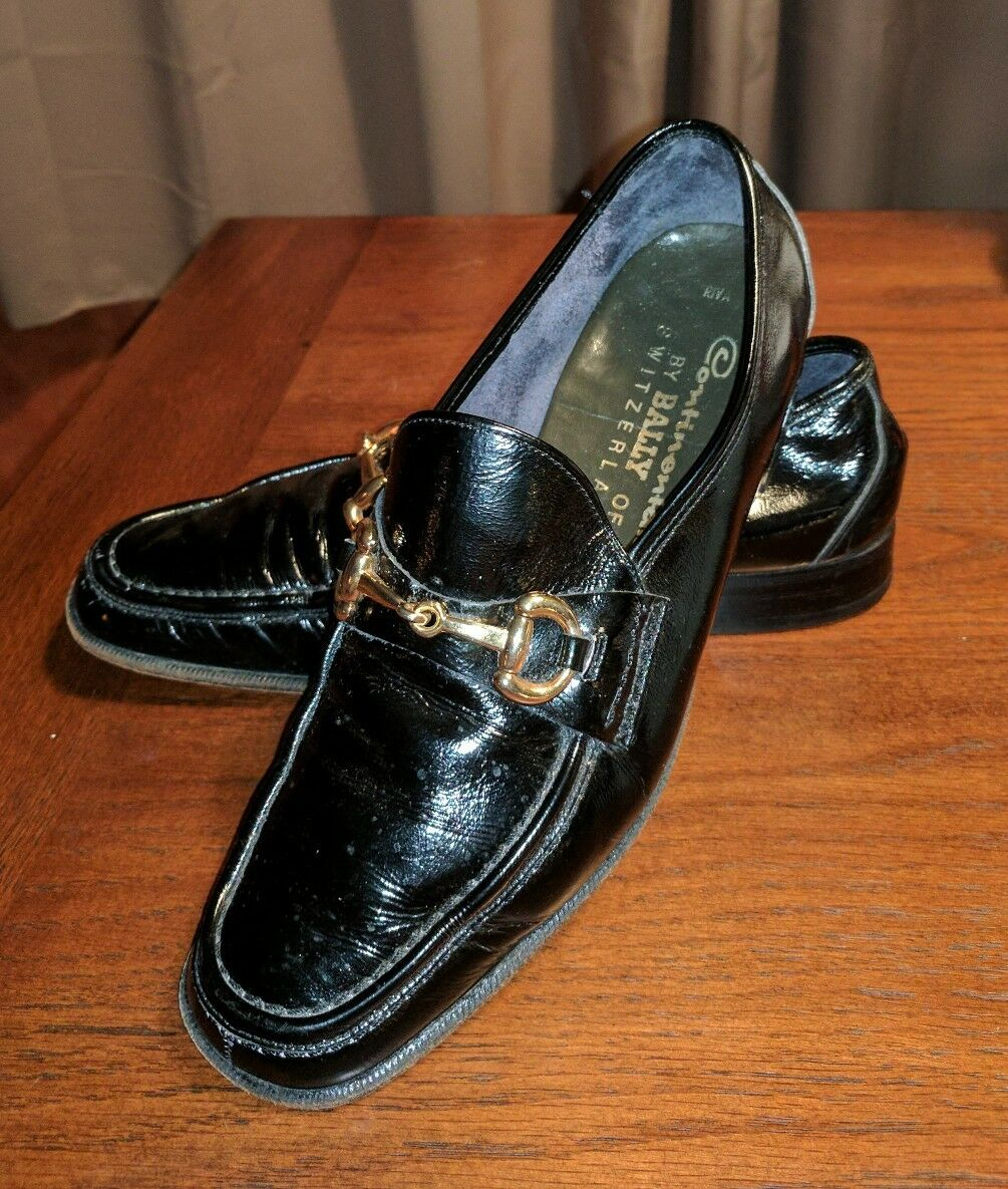CONTINENTALS BY BALLY PATENT LEATHER BLACK HORSE BIT LOAFERS 8.5 M SWITZERLAND