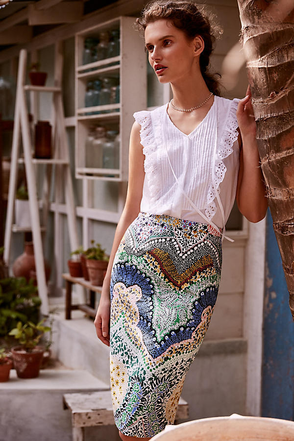 New Anthropologie Ruffled Eyelet Tank by Les Cocotiers, L, XL, Romantic Weiß