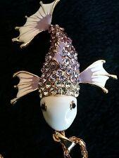 BETSEY JOHNSON CRYSTAL & ENAMEL Purple & White KOI FISH NECKLACE  pendant