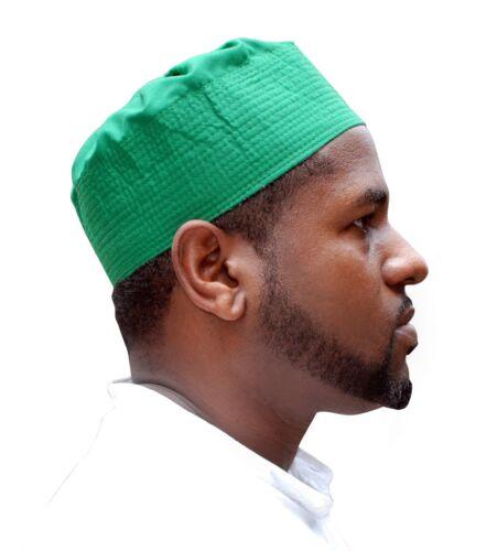 Green Pleated-top Solid Color Fabric Kufi Prayer Peci Take Kufi Hat Tabligh Topi