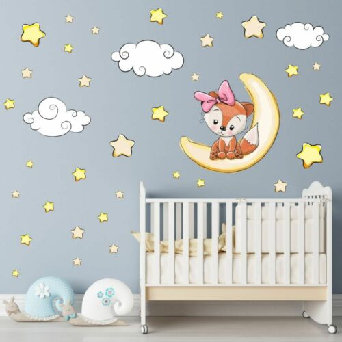 nikima 012 Wandtattoo Fuchs Mädchen Mond Wolken Sterne Kinderzimmer Baby