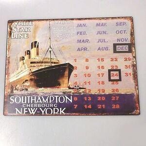 Blechschild-ewiger-Kalender-White-Star-Line-Majestic-Seefahrt-Titanic-33-x-25-cm