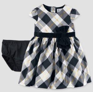 d4de4cb8d6cc New Baby Girl Christmas Plaid Bow Dress Black Gold Carter's Special ...