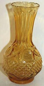 """Vintage Amber Bud Vase Dot Diamond Point 6 1/4"""""""