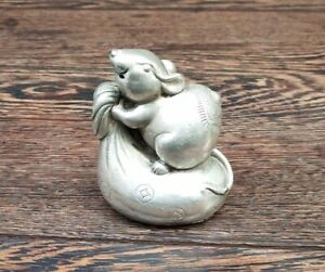Collectible Copper silver Handmade Carved Statue mice rat /& Money bag Art Deco
