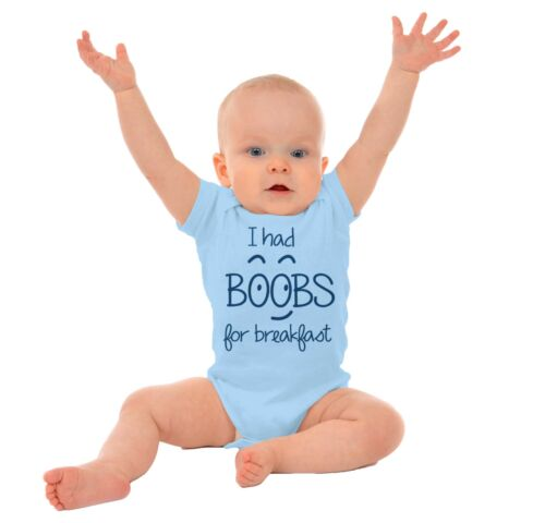 I Had Boobies For Breakfast Adorable Shower Newborn Romper Bodysuit For Babies