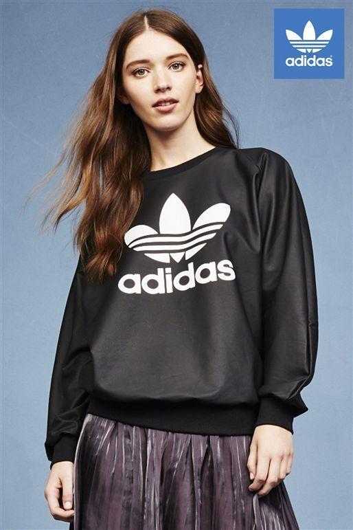 Adidas Originals W Leather Look Trefoil schwarz Sweat-Shirt Größe UK 12 NEW (625)