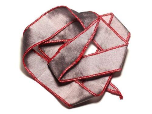 Collier Ruban Soie teint à la main 66 x 2.5cm Gris Argenté Rouge SOIE195-87411