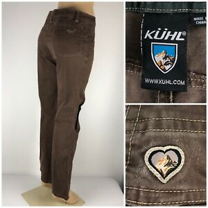 Kuhl Womens 8 Regular Pants Hiking Cotton Stretch Vintage Patina Dye Brown Faded