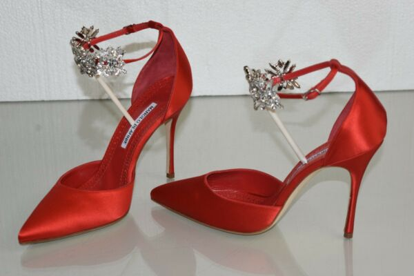2b59c0fc709e79  1045 NEW Manolo Blahnik Sicariata 105 Satin Pumps Jeweled Shoes Red 38.5  39. Hover to zoom