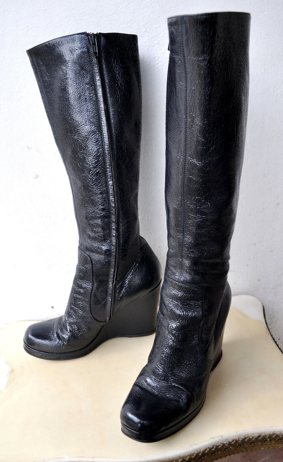 L'AUTRE CHOSE Patent Patent Patent Leather Knee High Wedge Stiefel Sz 39.5  SOLD OUT RARE 5d41db
