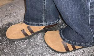39-Birkenstock-Tatami-Womens-US-9-Brown-Clogs-Mules-Slides-Suede-Shoes