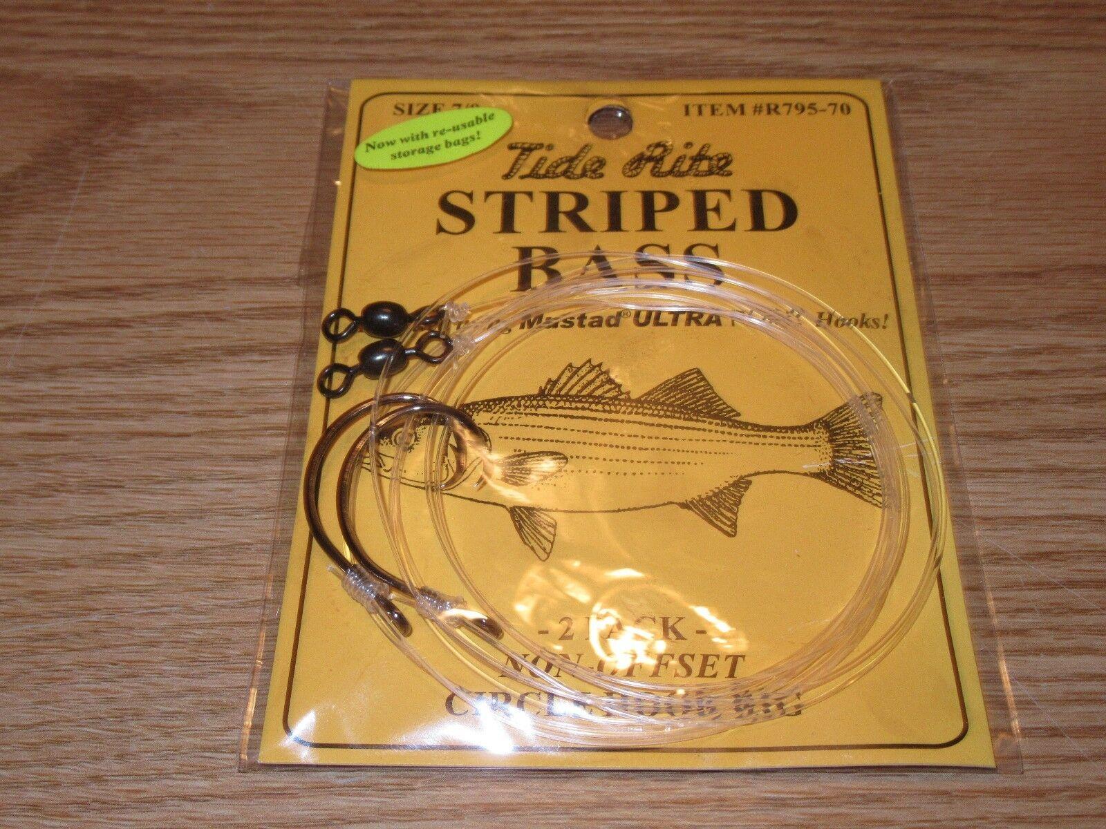 12 STRIPED BASS TIDE RITE R795-7 0 CIRCLE HOOK 2-PK RIGS SALTWATER FISH RIG
