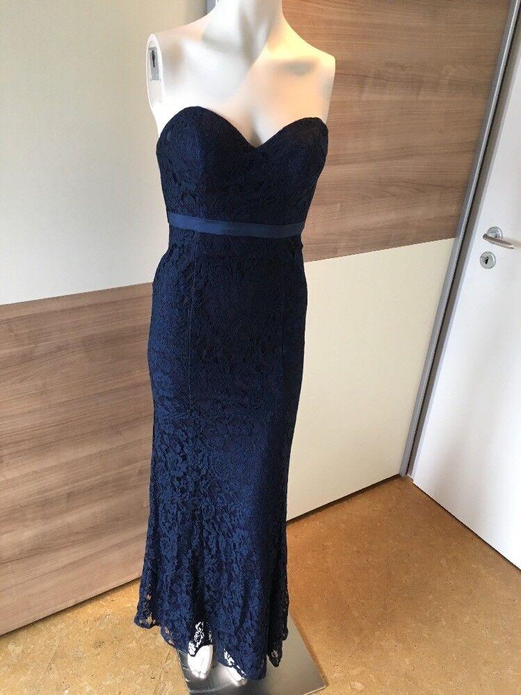 Abend Kleid lang Unique Gr.34 XS blau Spitze Damen Meerjungfrau p&c