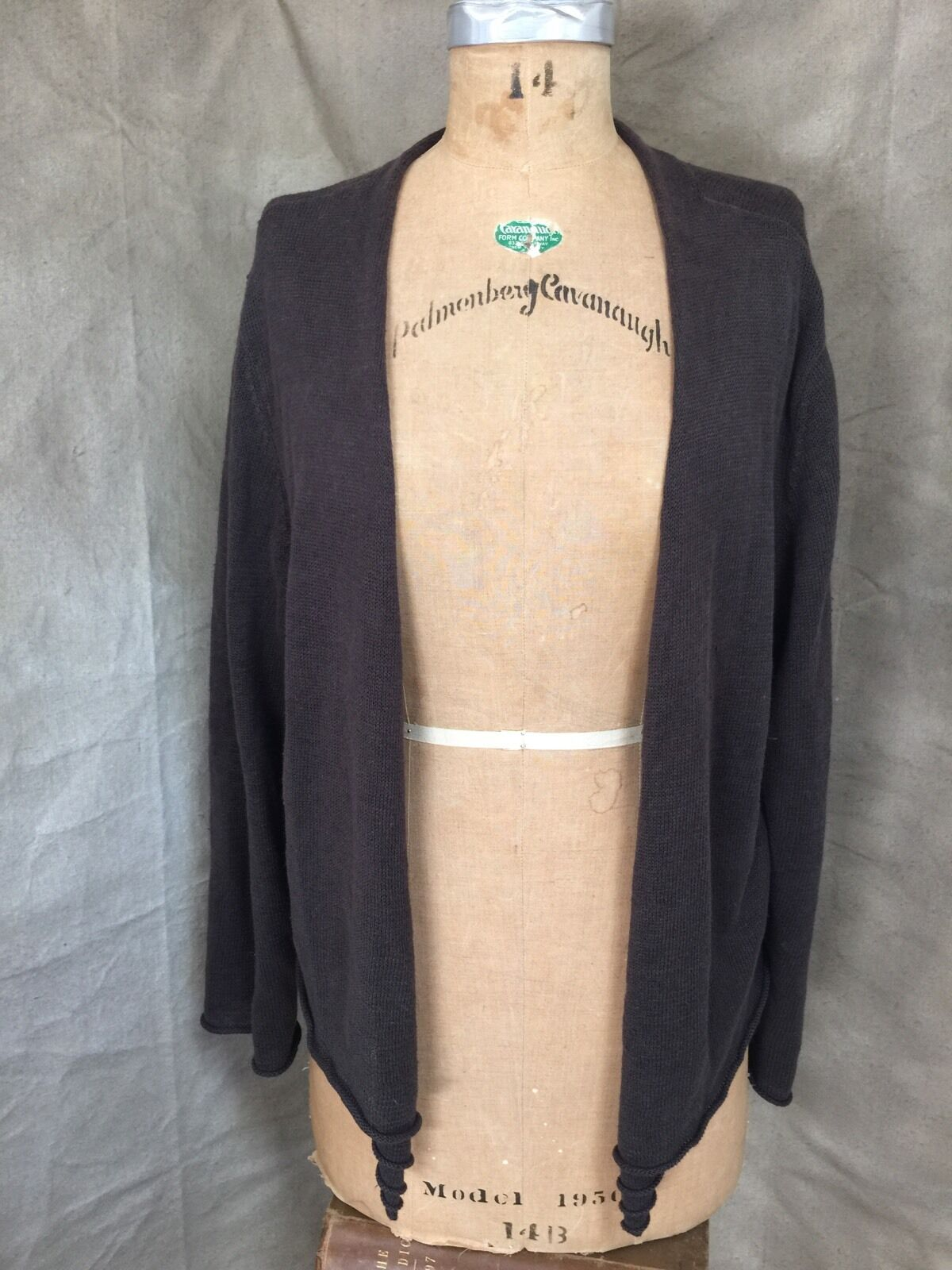 EILEEN FISHER Woman 100% LINEN Open Cardigan Sweater COCOA BROWN Casual Work 1X