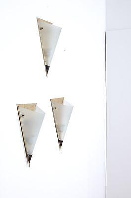 3 Appliques Anni '50 A Spicchio, In Ottone E Vetro. Vintage.