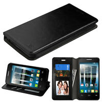 Black Wallet Leather Cover Case For Alcatel Onetouch Allura Gophone / Fierce 4