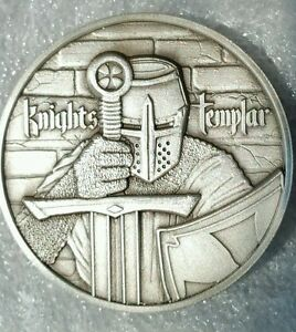 The Knights Templar 2 Oz 999 Silver Round Antiqued