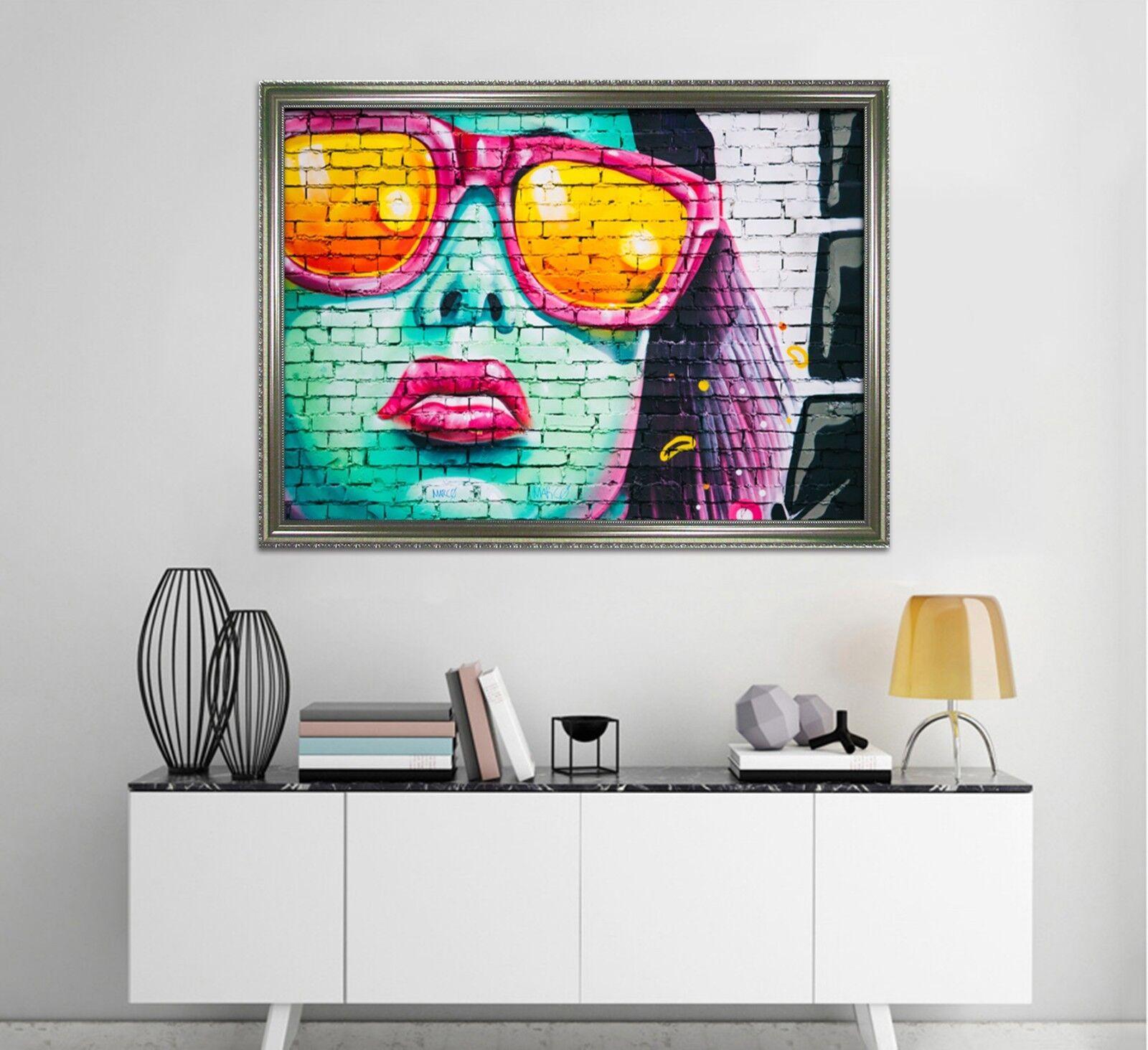 3D Wall Sunglasses Girl 3 Framed Poster Home Decor Print Painting Art WALLPAPER