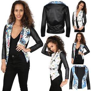 New-Womens-Ladies-Floral-PVC-Long-Sleeves-Waterfall-Jacket-Coat-Blazer-Top