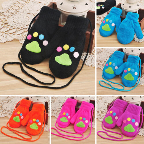 Newborn Baby Kids Girls Boys Footprint Gloves Winter Warm Stretchy Knit Mittens