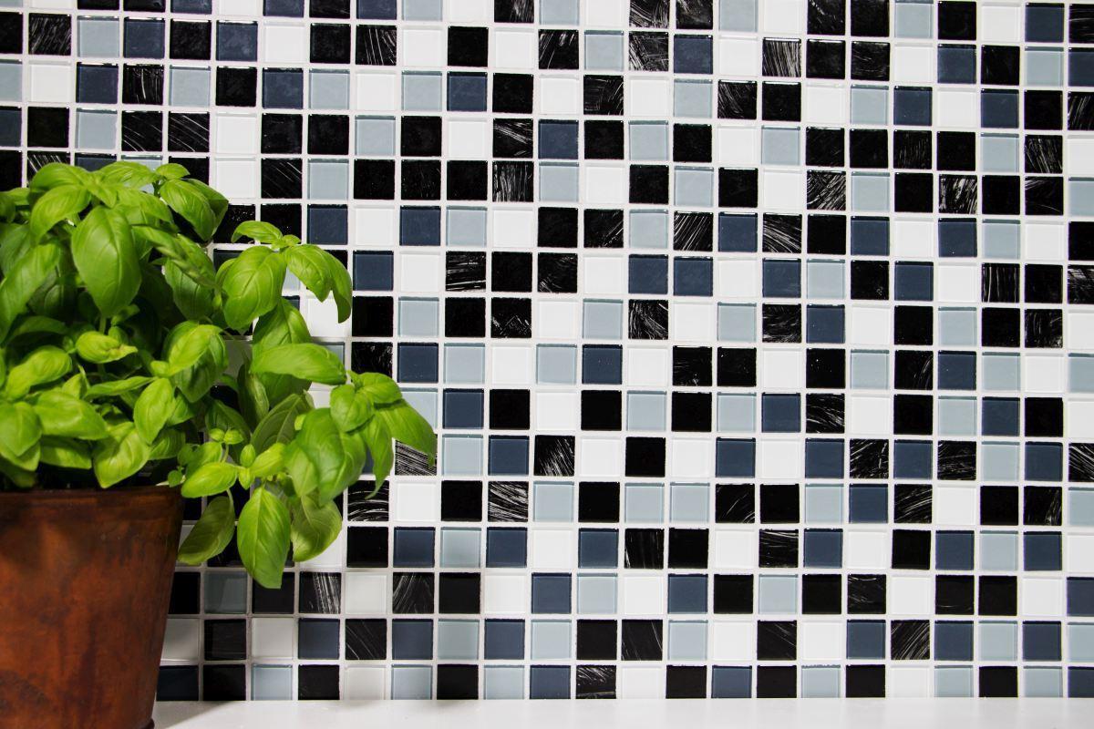 Glasmosaik mix grau/schwarz/weiß/wisch Fliesenspiegel Art: 200-4CM28 200-4CM28 200-4CM28   10 Matten 242e72