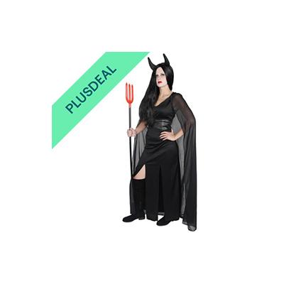 langes Teufelkleid mit Umhang und Hörnern Teufel Kostüm Kleid Hörner Gr. S-XXL