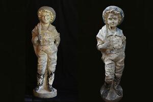 Paire-de-statues-de-jardin-en-ciment-Annees-1910-1920-Staue-cement-garden