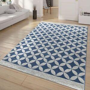 Tapis Salon Poils Ras Batik Motif Graphique Losanges Bleu Gris ...