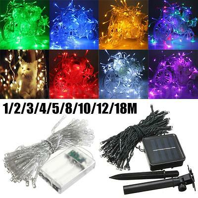 1-50M Battery/Solar LED Wire String Fairy Light Outdoor Wedding Christmas Party