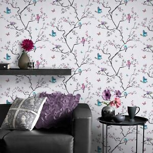 Fresco Great Value Mai Oriental Birds And Flowers Soft Lilac