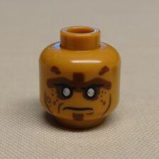 NEW Lego Minifig Head Zombie Silver Eyes Closed Mouth / Bared Teeth Pattern