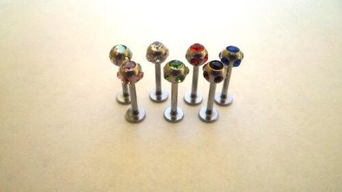 Multi Gem Labret Lip Tragus Monroe Bar 16G 4mm Ball Choice Of Colours Free P/&P