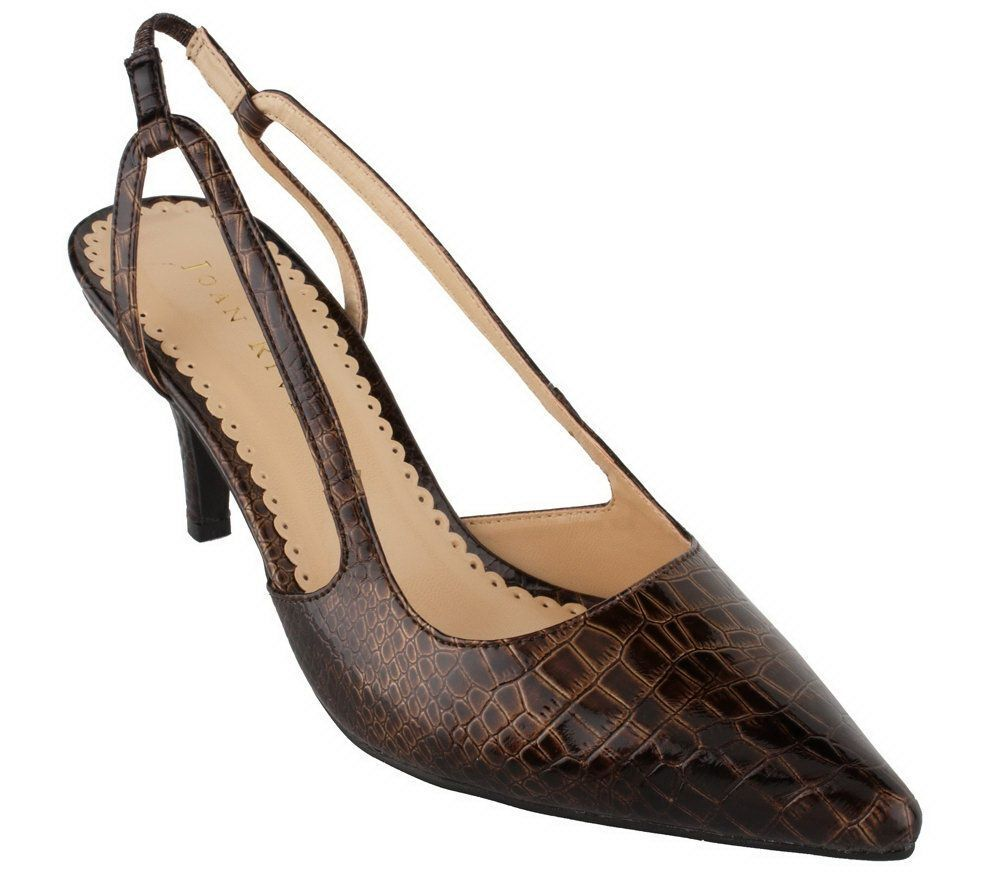 Joan Pumps, Rivers Signature Slingback Croco-Embossed Pumps, Joan Brown, Size 7.5 QVC $60 13614f