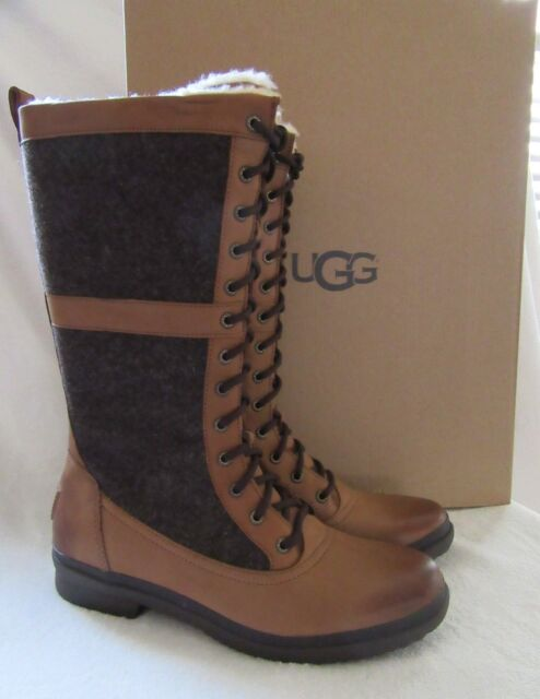 a137d27bfbf UGG Australia Elvia Chestnut Waterproof Leather Wool BOOTS Shoes US 9 EUR  40 NWB