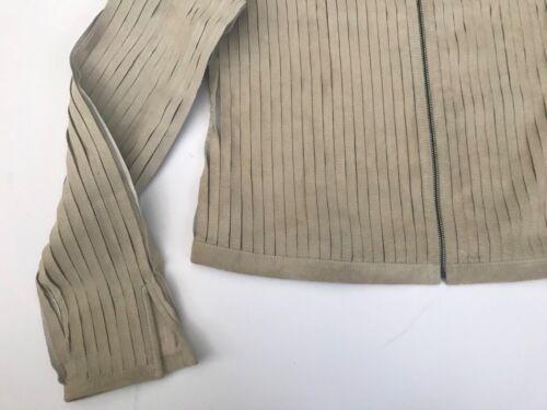 Ecru Pelle Taglio Camoscio Strisce Nuova Le Misure Con Zip Pieced Mano Etichetta ASgqcFZ