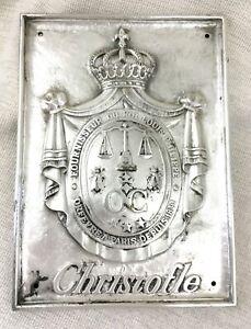 Christofle-Plaque-Argent-Bronze-Mural-Plaque-de-Magasin-Signe-Manteau-Bras-Rare