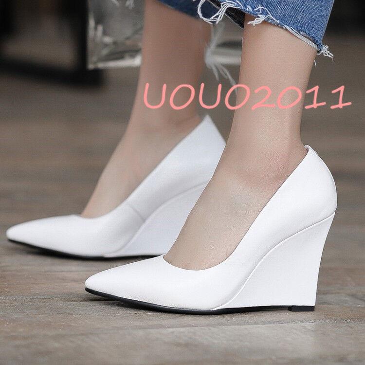 Zapatos de Cuero mujeres Cuña Tacón Alto Puntera Puntiaguda Puntiaguda Puntiaguda Zapatos de Tacón Elegantes Slip On ol Nuevos Real  edición limitada
