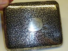 Vintage Russia Silver cigarette case W. Niello ornament/motivos - 1910-Rare