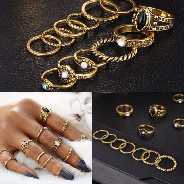Retro 10Pcs/ Set Silver Gold Boho Fashion Arrow Moon Midi Finger Knuckle Rings