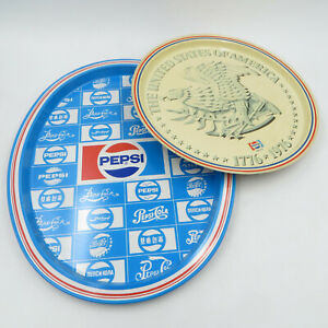 Pepsi-Logo-Ice-Tray-and-Pepsi-Cola-Lady-Advertising-Trays-Lot-of-2