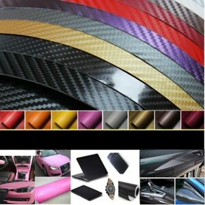 3D Premium HIGH GLOSS Carbon Fiber Vinyl Film Wrap Bubble Free Air Release BW