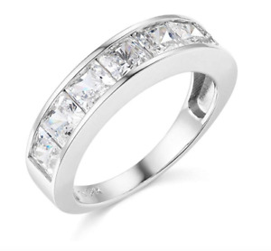 3.5 Ct Princess Cut Real 14k White Gold Engagement Wedding Anniversary Band Ring