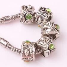Fashion 5pcs Silver Czech big hole Beads Fit European Charm Bracelet DIY #B192