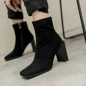 Women-039-s-Square-Toe-Ankle-Boots-Leather-Block-Heels-Motor-Punk-Zip-Shoes-Runway