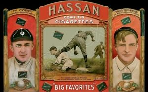 1912-Hassan-Die-Cut-Store-Counter-Standup-Sign-Ty-Cobb-Christy-Mathewson-Repro