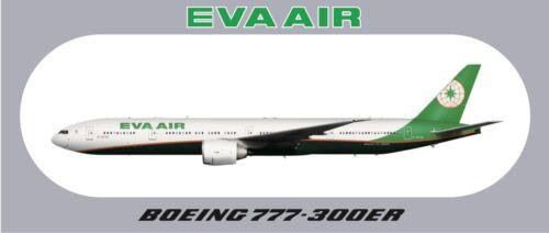 """7.87""""*3.46"""" About 20*8.8CM EVA AIR BOEING 777-300ER Sticker 1 PC"""