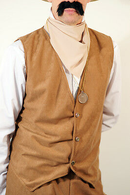 Steampunk-Victorian-Edwardian-Wild West Big Game Hunter Tan Waistcoat All Sizes