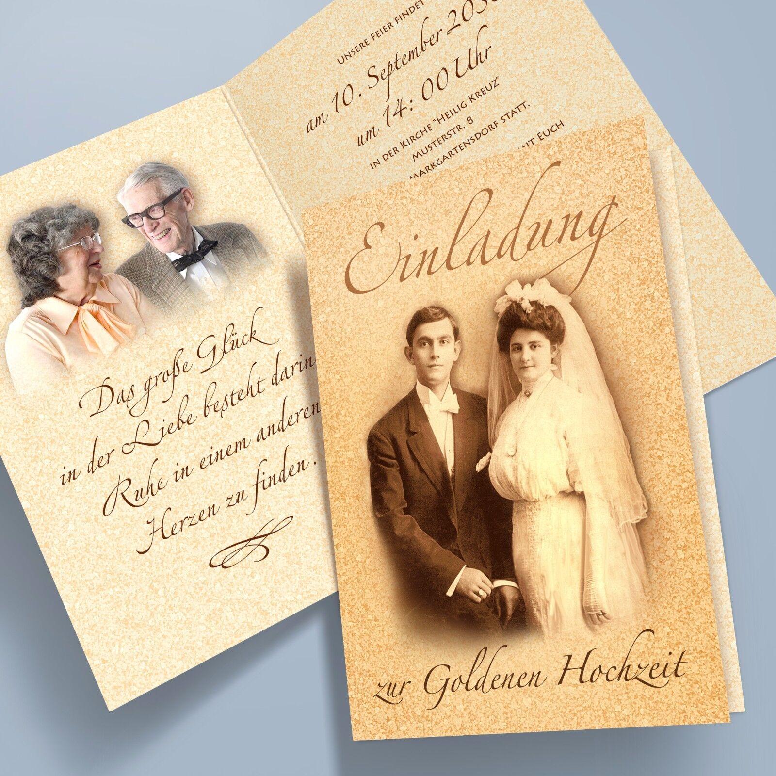 Einladungskarten Goldhochzeit, Klappkarten personalisiert, Bildoptim. 62 A6, B6