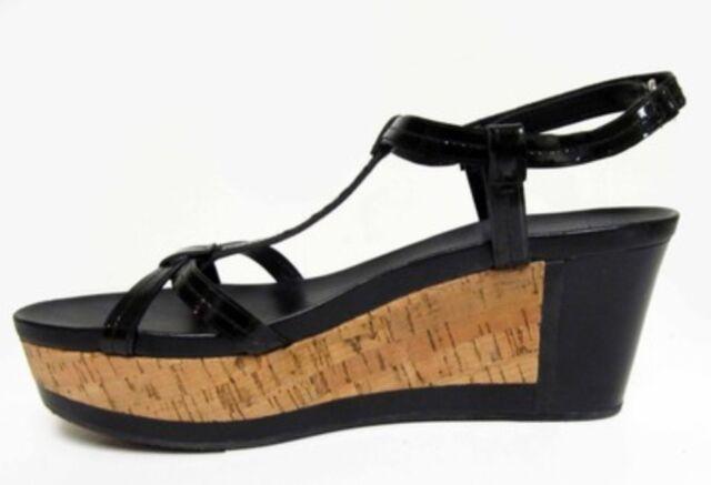 d5800b2de8 PRADA AUTH $699 Women's Black Patent Leather Cork Platform Wedge Sandals Sz  8.5